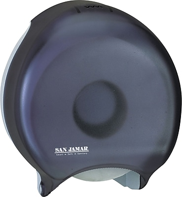 San Jamar® Single Jumbo Bath Tissue Dispenser, Plastic, Transparent Black Pearl (SAN R2000TBK)