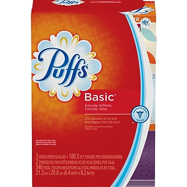 Puffs® Basic Family Facial Tissues, 2-Ply, 180 count, 3 Boxes/Pack (PGC 84381/34458)