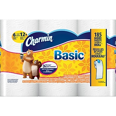 Charmin® Basic Bath Tissue Rolls, 1-Ply, 264 count, 8/6 Rolls/Case (PGC 85982/50908)