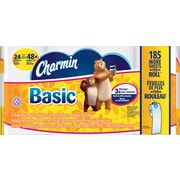Charmin Basic 1-Ply Bath Tissue Rolls, 24 Double Rolls/Case