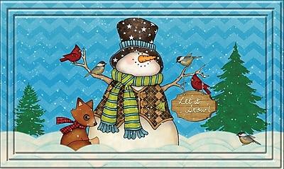Apache Mills Fashionables Holiday Doormat, Chevron Snowman Design, 18