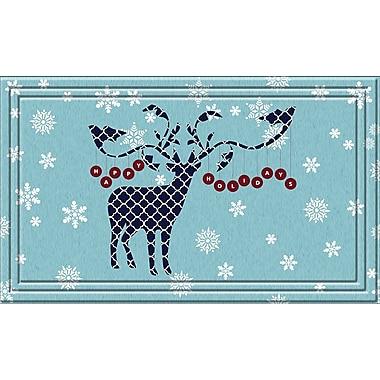 Apache Mills Fashionables Holiday Doormat, Happy Holiday Deer Design, 18