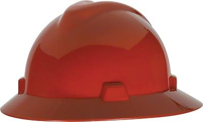 MSA Skullgard Hard Hat with Staz-On Suspension, Full Brim, Red, Each
