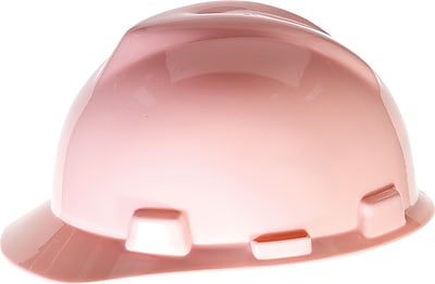 MSA V-Gard® Slotted Protective Cap with 4Pt. Fas-Trac® Ratchet Suspension, Size Large, Pink, Each