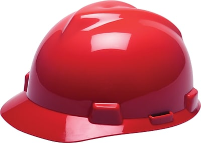 MSA V-Gard® Cap with 4Pt. Ratchet Suspension, Red, Each