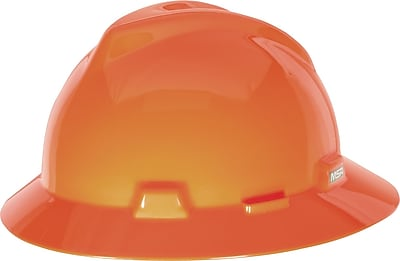 MSA V-Gard® Hard Hat, Full Brim with Staz-On Suspension, Orange, Each