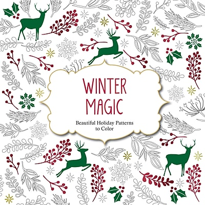 """Barron's """"Winter Magic:  Beautiful Holiday Patterns to Color"""" Adult Coloring Book"""