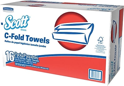 Scott® C-Fold Paper Towels, 1-Ply, White, 150 Towels/Pack, 16 Packs/Carton (45786)
