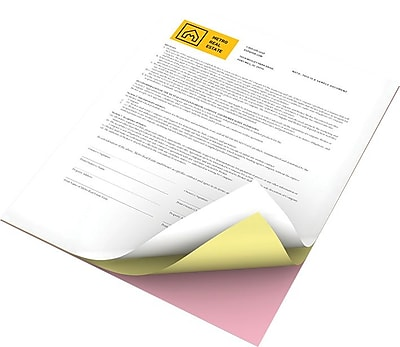 "Xerox® Revolution™ Premium Digital Carbonless Paper, 22 lb., Straight 3-Part, White/Canary/Pink, 8-½"" x 11"", 10/Carton"