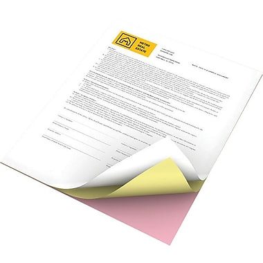 "Xerox® Revolution™ Premium Digital Carbonless Paper, 3-Part Reverse, Pink/Canary/White, 8 ½"" x 11"""