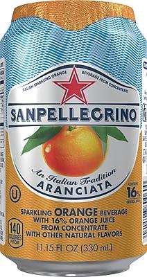 San Pellegrino® Sparkling Fruit Beverages, Aranciata/Orange 11.15 Oz Cans, 24/Pack (12234326)