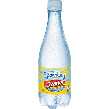 Ozarka Sparkling Natural Spring Water, Lemon 16.9-ounce Plastic Bottle, 24 /Case