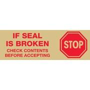 """Tape Logic™ 3"""" Pre Printed """"Stop If Seal Is Broken"""" Carton Sealing Tape, Red On Tan, 24/Case"""