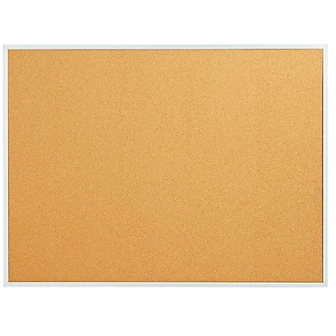 Staples Standard Cork Bulletin Board, Aluminum Finish Frame, 8'W x 4'H