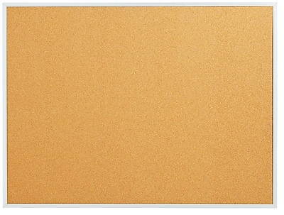 Staples Standard Cork Bulletin Board, Aluminum Finish Frame, 2'W x 1.5'H