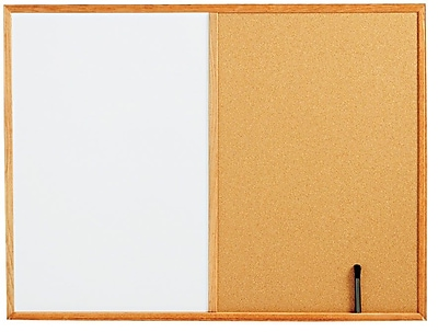 Staples Standard Combo Whiteboard/Natural Cork Bulletin Board Oak Frame, 4'W x 3'H