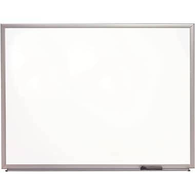 Staples Porcelain Magnetic Whiteboard, Silver Aluminum Frame, 3'W x 2'H