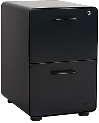 Poppin Two Drawer Stow All Black File Cabinet