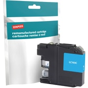 Staples® Remanufactured Inkjet Cartridge, Brother LC-103XL (LC103C), High Yield, Cyan