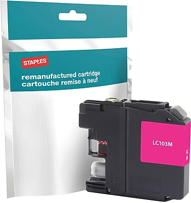 Staples® Remanufactured Inkjet Cartridge, Brother LC-103XL (LC103M), High Yield, Magenta