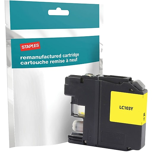 staples reman inkjet cartridge brother lc 103xl lc103y yellow high yield staples. Black Bedroom Furniture Sets. Home Design Ideas