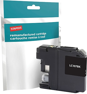 Staples® Remanufactured Inkjet Cartridge, Brother LC-107XXL (LC107Black), Super High Yield, Black