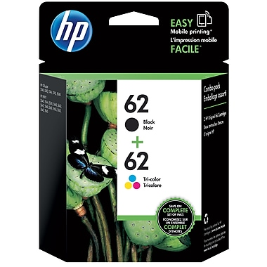 HP 62 Black/62 Tri-Color Ink Cartridge, N9H64FN, 2/Pack