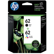 HP 62 Black/62 Tri-Color Ink Cartridge (N9H64FN), Multi-pack (2 cart per pack)