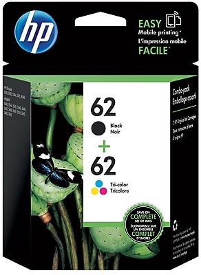 HP 62 Black/62 Tri-Color Ink Cartridge (N9H64FN), Multi-pack (2 cart per pack)