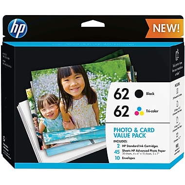 HP 62 Black/Color Ink, K3W67AN, Photo Card Value Pack, 45 Sheets