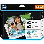 HP 62 Black/Tri-Color Standard Yield Ink Cartridge, 2/Pack (K3W67AN)