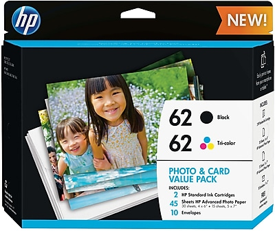 HP (K3W67AN#140) Black/Color Ink Photo Card Value Pack, 45 Sheets, 2/pack