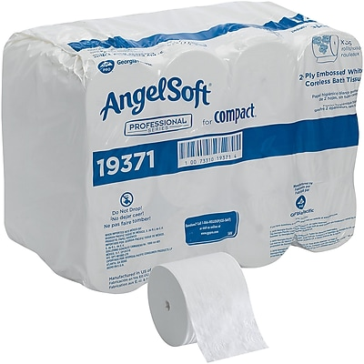 Angel Soft® Professional Series Compact®, White Coreless 2-Ply Premium Embossed, 750 Sheets/Roll, 36 Rolls/Case (19371)