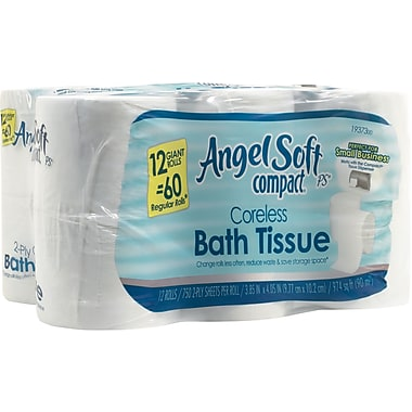 Angel Soft Compact® Coreless Bath Tissue, 12 Rolls/Case