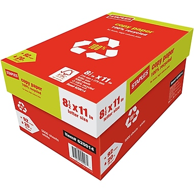 Staples 100% Recycled Copy Paper, 8 1/2