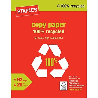 Staples® 100% Recycled Copy Paper, 8 1/2