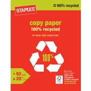 "Staples® 100% Recycled Copy Paper, 8 1/2"" x 11"", Ream"
