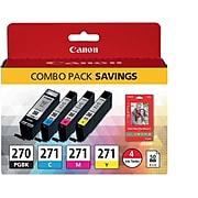 Canon PGI-270/CLI-271 Black/Cyan/Magenta/Yellow Standard Yield Ink Cartridge, 4/Pack (0373C005)