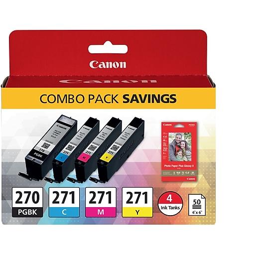Canon PGI 270/CLI-271 Combo Color Combination Ink Cartridge, Standard, 4/Pack (0373C005)