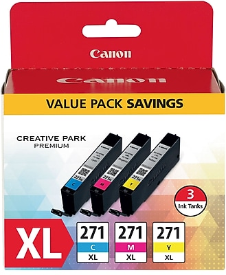 Canon CLI-271XL CMY Ink Cartridges, (0337C005), High Yield, 3/Pk