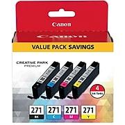 Canon CLI-271 Black/Cyan/Magenta/Yellow Standard Yield Ink Cartridge, 4/Pack (0390C005)