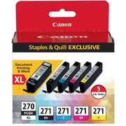Canon PGI-270XL/CLI-271 Black/Color Ink Cartridges, (0319C006), 5/PK