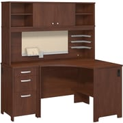 Bush Business Envoy Corner Desk, Hutch and 3 Drawer Pedestal, Hansen Cherry