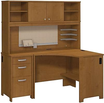 Bush Business Envoy Corner Desk, Hutch and 3 Dwr Pedestal, Natural Cherry