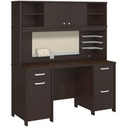 Bush Business Envoy Double Pedestal Desk and Hutch, Mocha Cherry