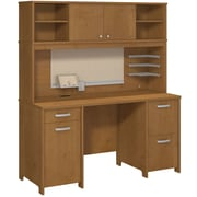 Bush Business Envoy Double Pedestal Desk and Hutch, Natural Cherry