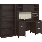 Bush Business Envoy Double Pedestal Desk, Hutch and Bookcase, Mocha Cherry