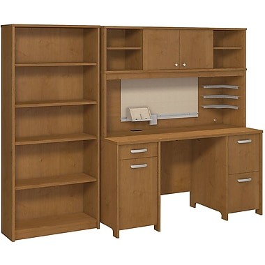 Bush Business Envoy Double Pedestal Desk, Hutch and Bookcase, Natural Cherry