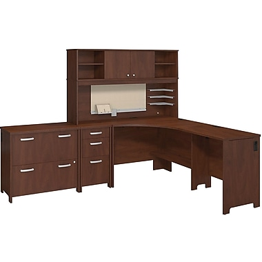Bush Business Envoy Corner Desk and Hutch with Storage, Hansen Cherry
