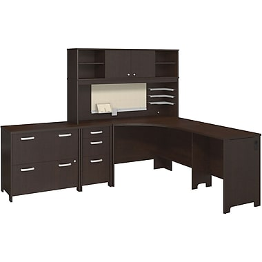 Bush Business Envoy Corner Desk and Hutch with Storage, Mocha Cherry